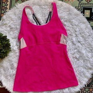 Athleta Bright Pink White Sport Tank Top